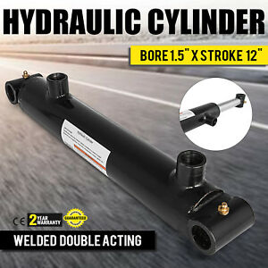 Hydraulic Cylinder 1 5 Bore 12 Stroke Double Acting Steel Welded Cross Tube