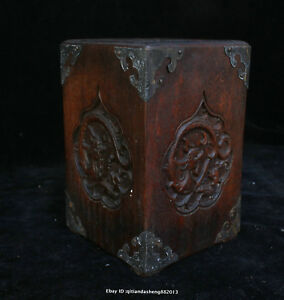 16cm Collect Chinese Old Rosewood Handmade Brave Troops Brush Pot Sculpture Qfhk