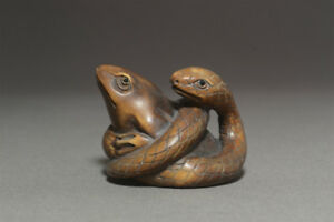 Netsuke Frogs And Snakes Japanese Wooden Figure Sculpture Ojime Okimono Inro