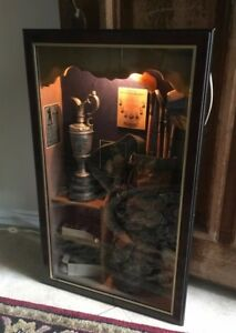 Vintage Antique Shadow Box Glass History Of Golf Display Case Wall Hanging Lamp