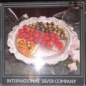 International Silver Company Silverplated 13 Round Serving Tray W Crystal Tray