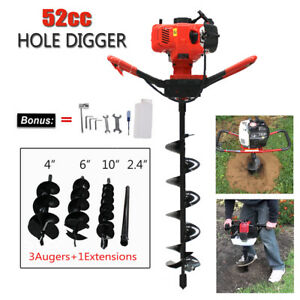 2 2hp 52cc Gas Powered Post Hole Digger With 6 10 Earth Auger Digging Engine