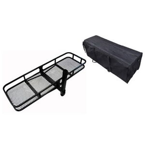 Fold Up Hitch Rear Mount Cargo Carrier With Waterproof Bag Black Car Rear Rack