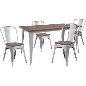 30 25 X 60 Silver Metal Restaurant Table Set With Walnut Wood Top And 4 Chairs