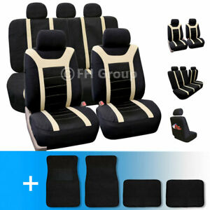 Sports Car Seat Covers Complete Set With Carpet Floor Mats Beige Black