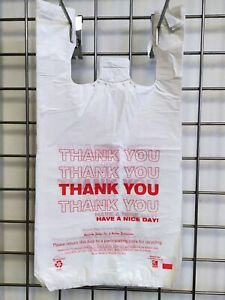 979 Hdpe Large T shirt Plastic Shopping Bags 11 5 x6 5 x21 Made In Usa 15 Mic