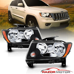 Black Headlights Replacement For 2011 2012 2013 Jeep Grand Cherokee Factory Type
