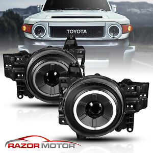 Ccfl Halo For 2007 2014 Toyota Fj Cruiser Black Ccfl Projector Headlights Pair