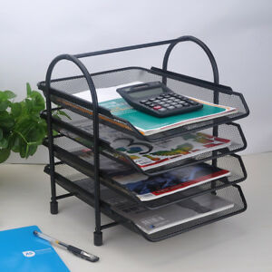 Four Tier Document File Tray Sorter Office Desktop Letter Organizer Mesh Shelf