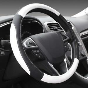 Microfiber Leather Auto Car Steering Wheel Cover Universal 15 Inch Black