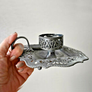 1890s Victorian Silver Plated Chamberstick Candlestick Derby Silver