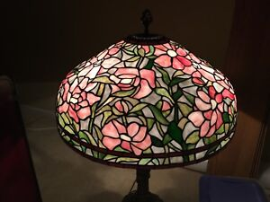 Large Antique Or Vintage Leaded Stained Glass Lamp Peony Pattern