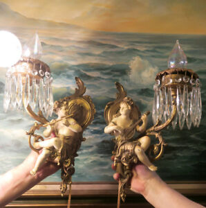 2 Shabby Spelter Brass Crystal Sconces French Lamp Vintage Antique Elegant Figur