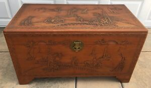 Vintage Chinese Antique Carved Chest Trunk