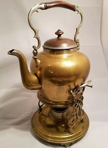 Antique Brass Teapot Kettle With Tipping Warming Stand Burner