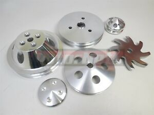 Billet Aluminum Small Block Chevy Sbc 2 Groove Short Water Pump Pulley Crank Swp