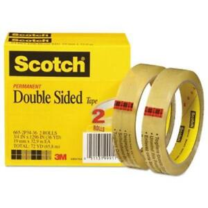 Scotch Double Sided Tape 3 4 X 1296 Transparent 2 Rolls mmm6652p3436
