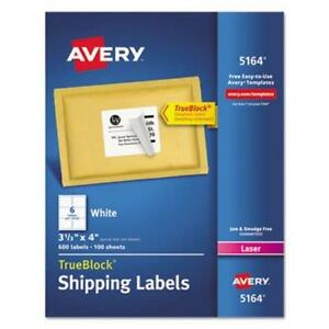 Avery 5164 White Shipping Labels 3 1 3 X 4 600 Labels ave5164