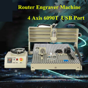 Cnc Router Engraver 6090 4 Axis 1 5kw Vfd Usb Carving Mill Machine Metalworking