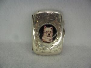 West Yorkshire Terrier Enamel Solid Silver Cigarette Case 1926