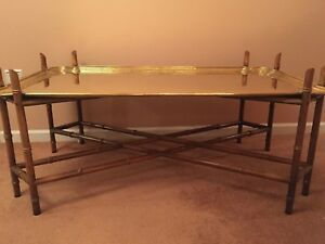 Vintage Burge Regency Faux Bamboo Brass Tray Coffee Table