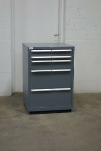 Used Lista 5 Drawer Cabinet 42 Inch High Industrial Tool Storage 1633 Vidmar