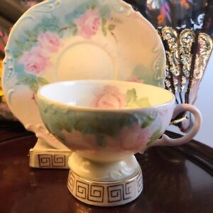 Vintage Hand Painted Cup Saucer Flowers Signed By Artist M Bell