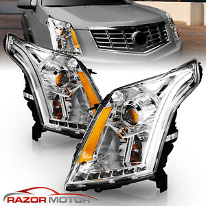 2010 2016 Led Drl Neon Bar Projector Chrome Headlights Pair For Cadillac Srx Suv