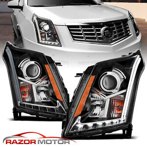 2010 2016 Led Drl Neon Bar Projector Black Headlights Pair For Cadillac Srx Suv
