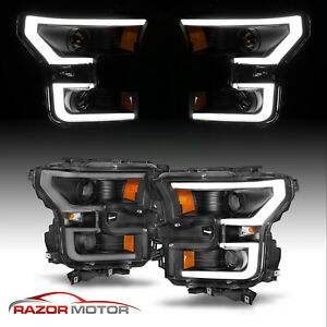 2015 17 Black Euro Led Bar Dual Projector Headlights Pair For Ford F150 F 150