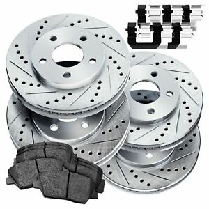 Full Kit Psport Silver Drilled Slotted Brake Rotors Ceramic Pads Blcc 51057 02