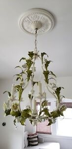 Large Antique Italian Tole Yellow Porcelain Roses 6 Light Chandelier Shabby Chic
