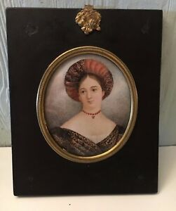 Antique Hand Painted Miniature Portrait Of Lady Amherst In Original Frame