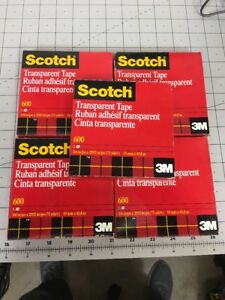 Scotch Transparent Tape 600 72 Yards 3 4 X 2592 3 Core 5 Pack New Nos