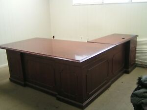 1 Wood Steel Case Executive L Shaped Desk For Sale Plus 30 40 Other Office Items