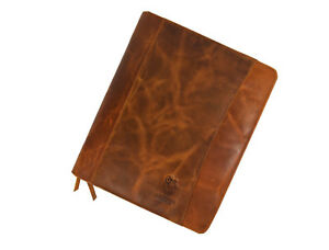 Vintage Leather Portfolio Padfolio Organizer Folder Easy To Carry Zippered