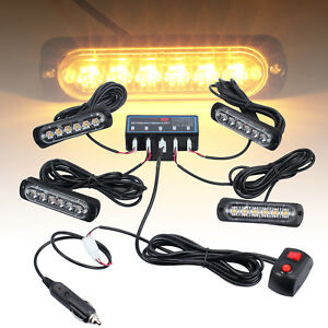 4x 12 24v Lorrys Beacon Recovery Lightbar 6led Truck Amber Strobe Flashing Light