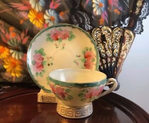 Vintage Japanese Eggshell Porcelain Hand Painted Tea Cup And Saucer Pink Flower