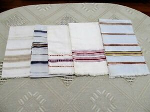 Old Primitive Antiques Hand Wooven Homespun Towels Linens Cotton Lot Of 5