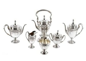 Sterling Silver Tea Coffee Set Lansdowne By Gorham 6 Pieces With Kettle