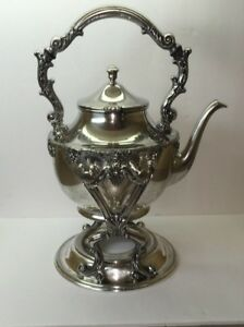 Silverplate Tilting Teapot Kettle With Stand Very Nice Details