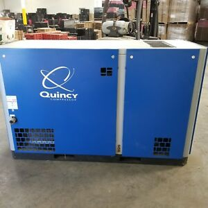 2013 Quincy Qsi 140 Rotary Screw Air Compressor W air Dryer 240 Gal Tank