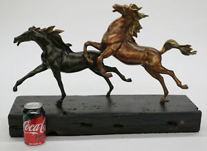 Horse Lovers Real Bronze Horses Dual Bust Sculpture Statue Equestrian Decor Sale