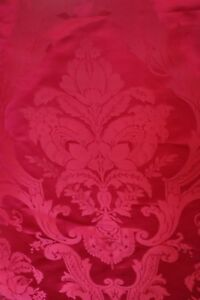 Antique French Raspberry Red Silk Damask Fabric Frame L 30 X W 21