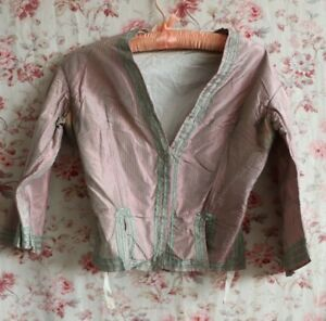 Antique 19thc Pink Green Iridescent French Silk Woman S Bodice Dolls