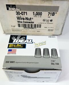 1 000 Ideal 30 071 Wire nut Wire Connector 71b Gray Brand New 10 Boxes Of 100