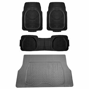 4pc All Weather Black Floor Mats Gray Cargo Set Tough Rubber Deep Dish Car