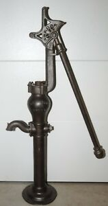 Dempster Mills Cast Iron Hand Water Well Pump W Chesnut Capped Straight Handle