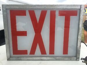 Vintage Metal And Glass Exit Sign Boxed Lighted Industrial Rare