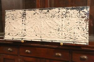 Antique Metal Tin Ceiling Tile 48 X 18 Shabby Chic Sheet Panel Reclaim Salvage